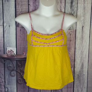 sz L yellow and pink floral tank ties in back E21